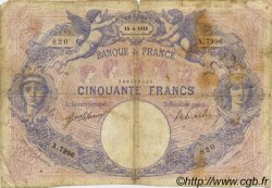 50 Francs BLEU ET ROSE FRANCE  1918 F.14.31 B