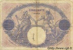50 Francs BLEU ET ROSE FRANCE  1922 F.14.35 B+