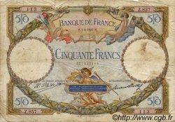 50 Francs LUC OLIVIER MERSON FRANCE  1927 F.15.01 B+