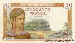50 Francs CÉRÈS FRANCE  1935 F.17.04 pr.SUP