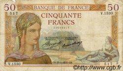 50 Francs CÉRÈS FRANCE  1935 F.17.08 B à TB