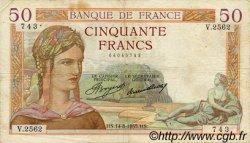 50 Francs CÉRÈS FRANCE  1935 F.17.14 TB+