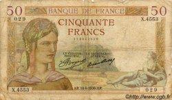 50 Francs CÉRÈS FRANCE  1936 F.17.27 B