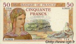 50 Francs CÉRÈS FRANCE  1937 F.17.34 SUP