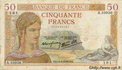 50 Francs CÉRÈS modifié FRANCE  1937 F.18 TB