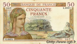 50 Francs CÉRÈS modifié FRANCE  1937 F.18.02 TTB à SUP