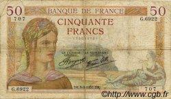 50 Francs CÉRÈS modifié FRANCE  1937 F.18.03 B