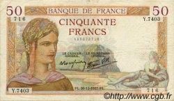 50 Francs CÉRÈS modifié FRANCE  1937 F.18.06 pr.TTB