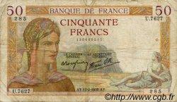 50 Francs CÉRÈS modifié FRANCE  1938 F.18.09 B