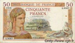 50 Francs CÉRÈS modifié FRANCE  1938 F.18.18 TTB+