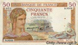50 Francs CÉRÈS modifié FRANCE  1939 F.18.20 TTB