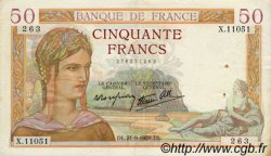 50 Francs CÉRÈS modifié FRANCE  1939 F.18.31 TTB+