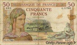 50 Francs CÉRÈS modifié FRANCE  1939 F.18.36 pr.B