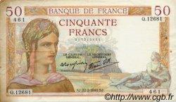 50 Francs CÉRÈS modifié FRANCE  1940 F.18.39 TTB