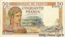 50 Francs CÉRÈS modifié FRANCE  1940 F.18.39 TTB à SUP
