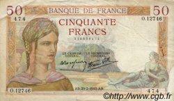 50 Francs CÉRÈS modifié FRANCE  1940 F.18.40 TB à TTB