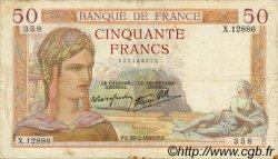 50 Francs CÉRÈS modifié FRANCE  1940 F.18.40 TB