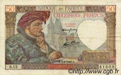 50 Francs JACQUES CŒUR FRANCE  1940 F.19.02 pr.TTB