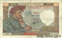 50 Francs JACQUES CŒUR FRANCE  1940 F.19.04 TTB