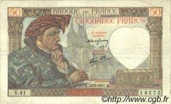 50 Francs JACQUES CŒUR FRANCE  1941 F.19.06 TB+ à TTB