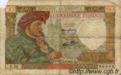50 Francs JACQUES CŒUR FRANCE  1941 F.19.08 AB