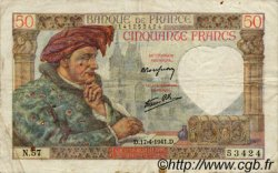 50 Francs JACQUES CŒUR FRANCE  1941 F.19.08 TB