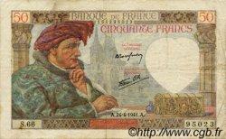 50 Francs JACQUES CŒUR FRANCE  1941 F.19.09 pr.TTB
