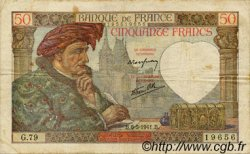 50 Francs JACQUES CŒUR FRANCE  1941 F.19.10 TB