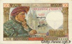 50 Francs JACQUES CŒUR FRANCE  1941 F.19.12 TTB+