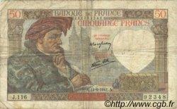 50 Francs JACQUES CŒUR FRANCE  1941 F.19.14 B à TB