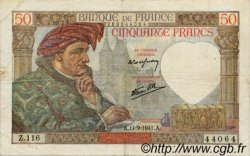 50 Francs JACQUES CŒUR FRANCE  1941 F.19.14 TTB