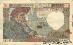 50 Francs JACQUES CŒUR FRANCE  1941 F.19.14 TB