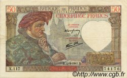 50 Francs JACQUES CŒUR FRANCE  1941 F.19.14 TTB+