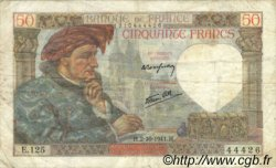 50 Francs JACQUES CŒUR FRANCE  1941 F.19.15 TB+