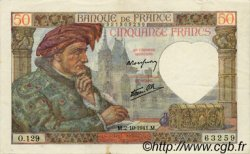 50 Francs JACQUES CŒUR FRANCE  1941 F.19.15 SUP