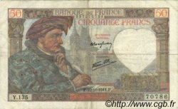 50 Francs JACQUES CŒUR FRANCE  1941 F.19.16 pr.TTB