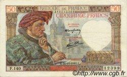 50 Francs JACQUES CŒUR FRANCE  1941 F.19.16 TTB+