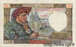 50 Francs JACQUES CŒUR FRANCE  1942 F.19.18 TTB+