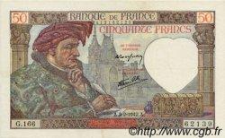50 Francs JACQUES CŒUR FRANCE  1942 F.19.19 TTB+