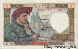 50 Francs JACQUES CŒUR FRANCE  1942 F.19.20 SUP+