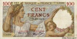 100 Francs SULLY FRANCE  1942 F.26.70 TTB+