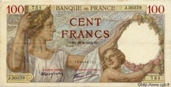 100 Francs SULLY FRANCE  1942 F.26.70 TTB