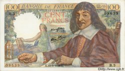 100 Francs DESCARTES FRANCE  1942 F.27.01 SUP+
