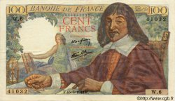 100 Francs DESCARTES FRANCE  1942 F.27.01 TTB+ à SUP