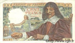 100 Francs DESCARTES FRANCE  1943 F.27.03 TTB+