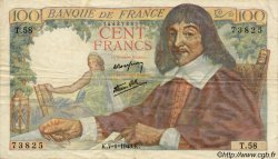 100 Francs DESCARTES FRANCE  1943 F.27.03 pr.TTB