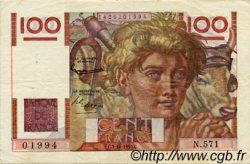 100 Francs JEUNE PAYSAN FRANCE  1953 F.28.40 TTB