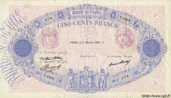 500 Francs BLEU ET ROSE FRANCE  1937 F.30.38 pr.TTB