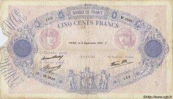 500 Francs BLEU ET ROSE modifié FRANCE  1937 F.31.03 B à TB