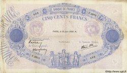 500 Francs BLEU ET ROSE modifié FRANCE  1938 F.31.16 TB+